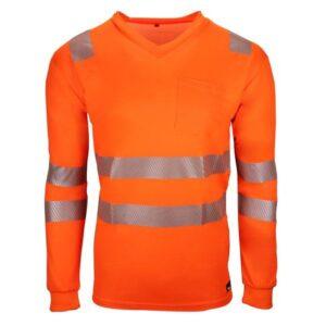 BAMBOO V-Neck Langarm-Shirt 19711 (leuchtorange)
